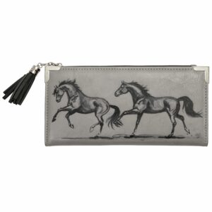 Galloping Horses Zip Wallet Grey