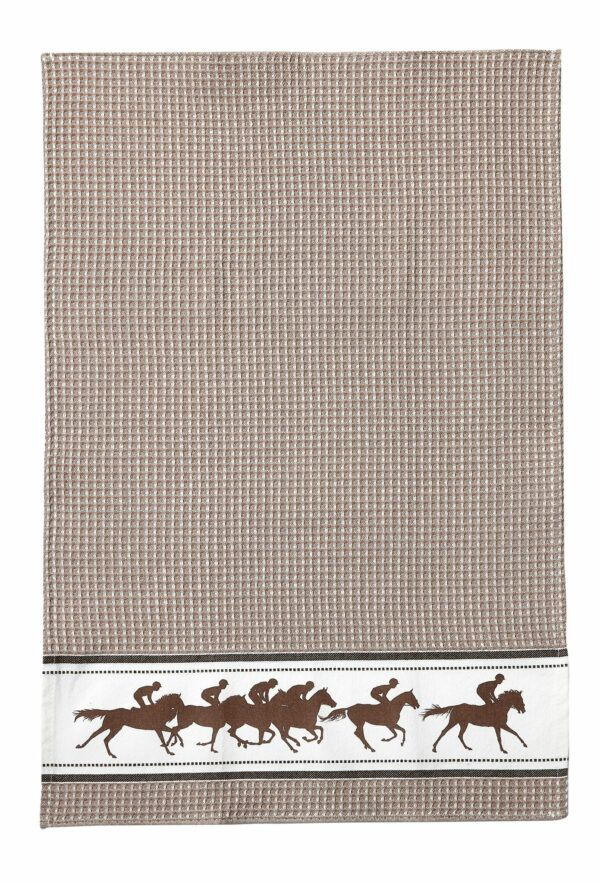Racehorse and Jockey Kitchen Towel Beige