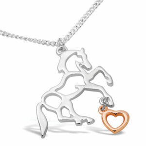 Horse Necklace With Rose Gold Heart