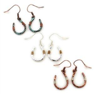 Wire Wrapped Horseshoe Earrings