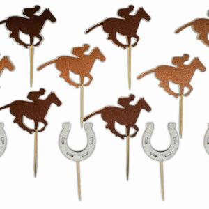 Glitter Racehorse/Jockey Horseshoes Food Picks
