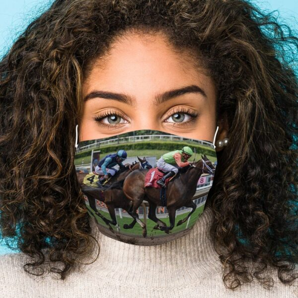 Horse Racing Mask At The Wire