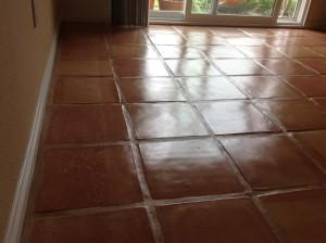 saltillo tile rug burned