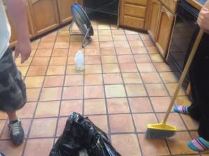 antique saltillo tile clean
