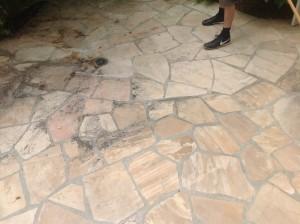 improperly sealed flagstone