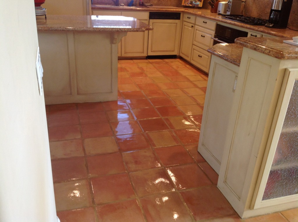 shiny sealed saltillo tile