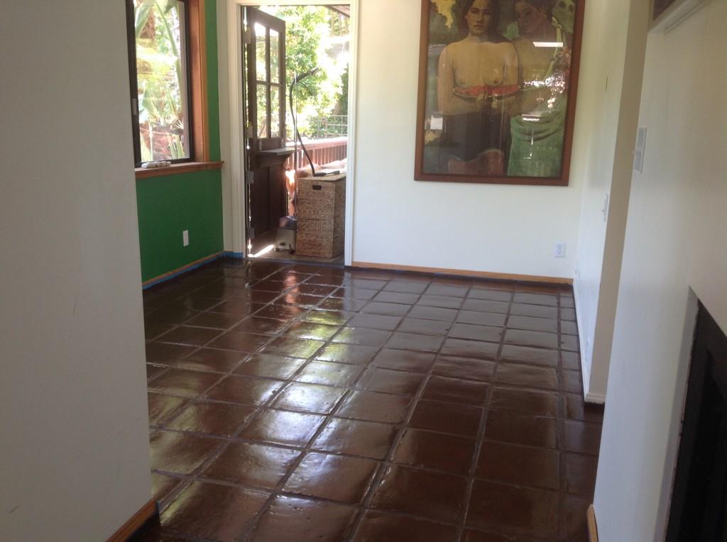 staining saltillo tile floor