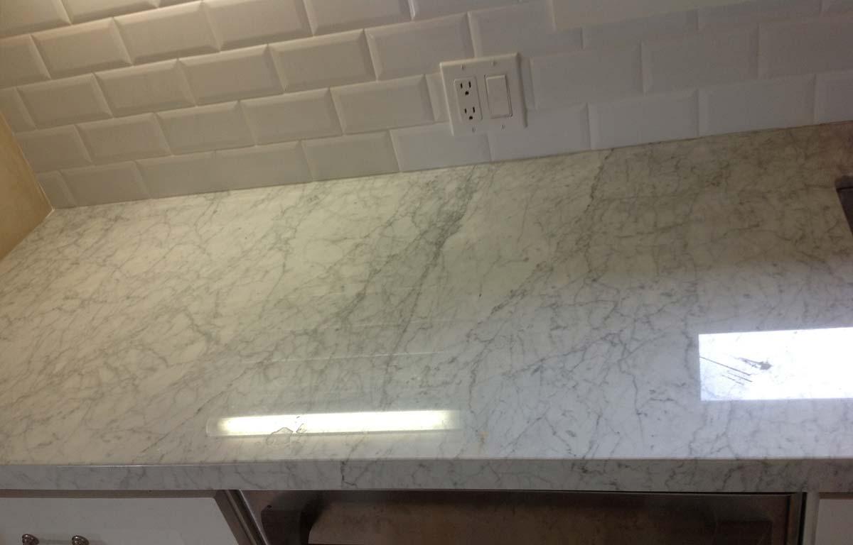 Chlorine Bleach Disaster on White Carrera Marble