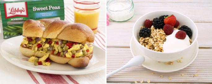 Breakfast scramble sandwich, and oatmeal with fruit and yogurt