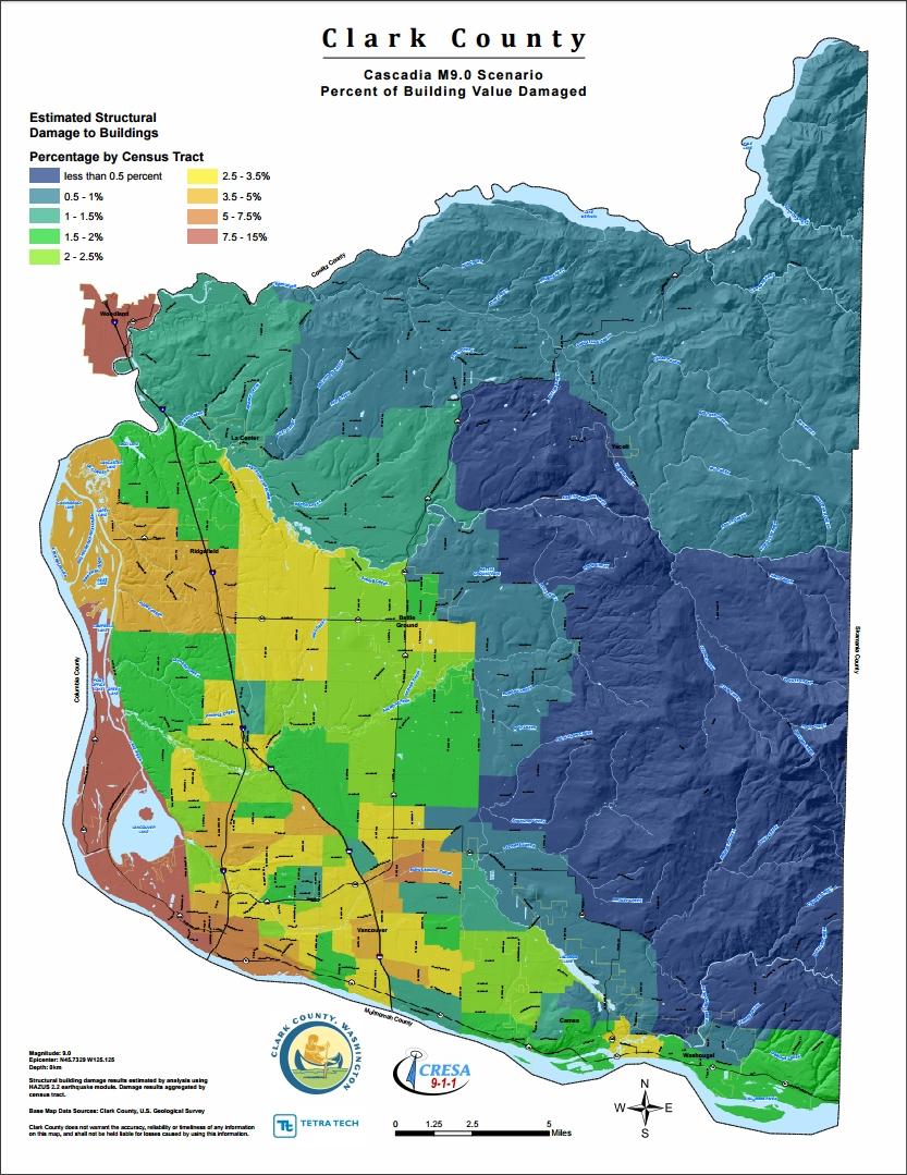 Clark County Cascadia 9.0 Percent of Building Damage Value