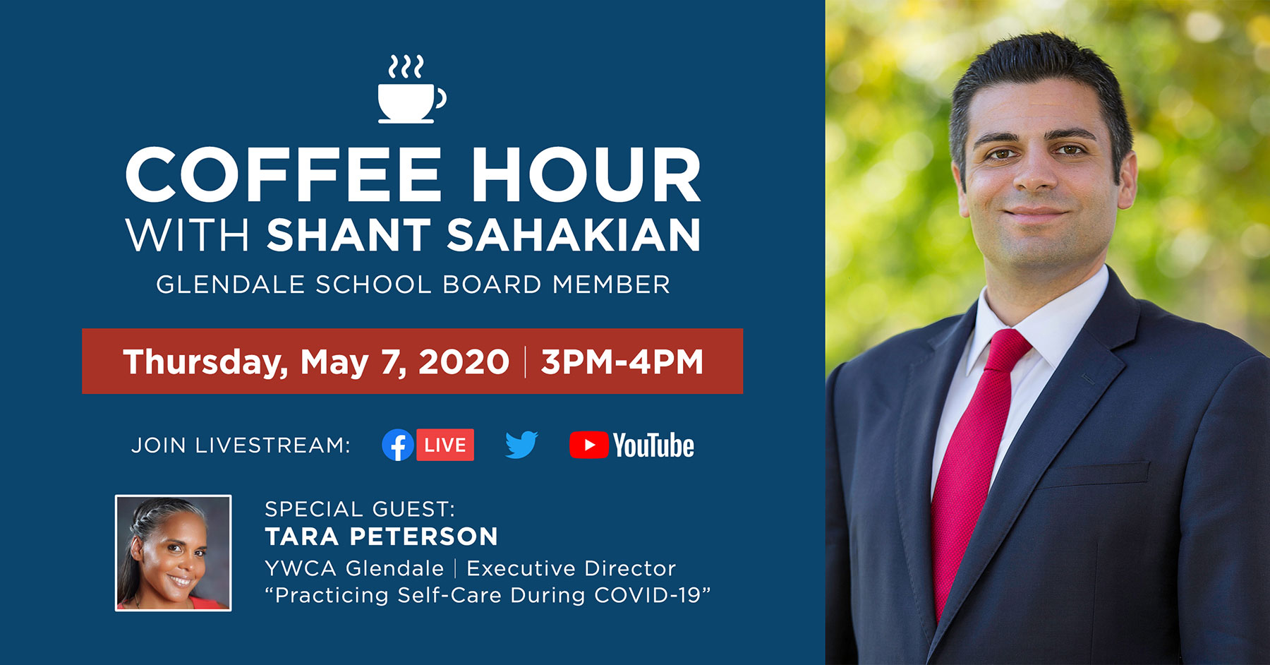 Glendale School Board Member Shant Sahakian Coffee Hour Event Flyer