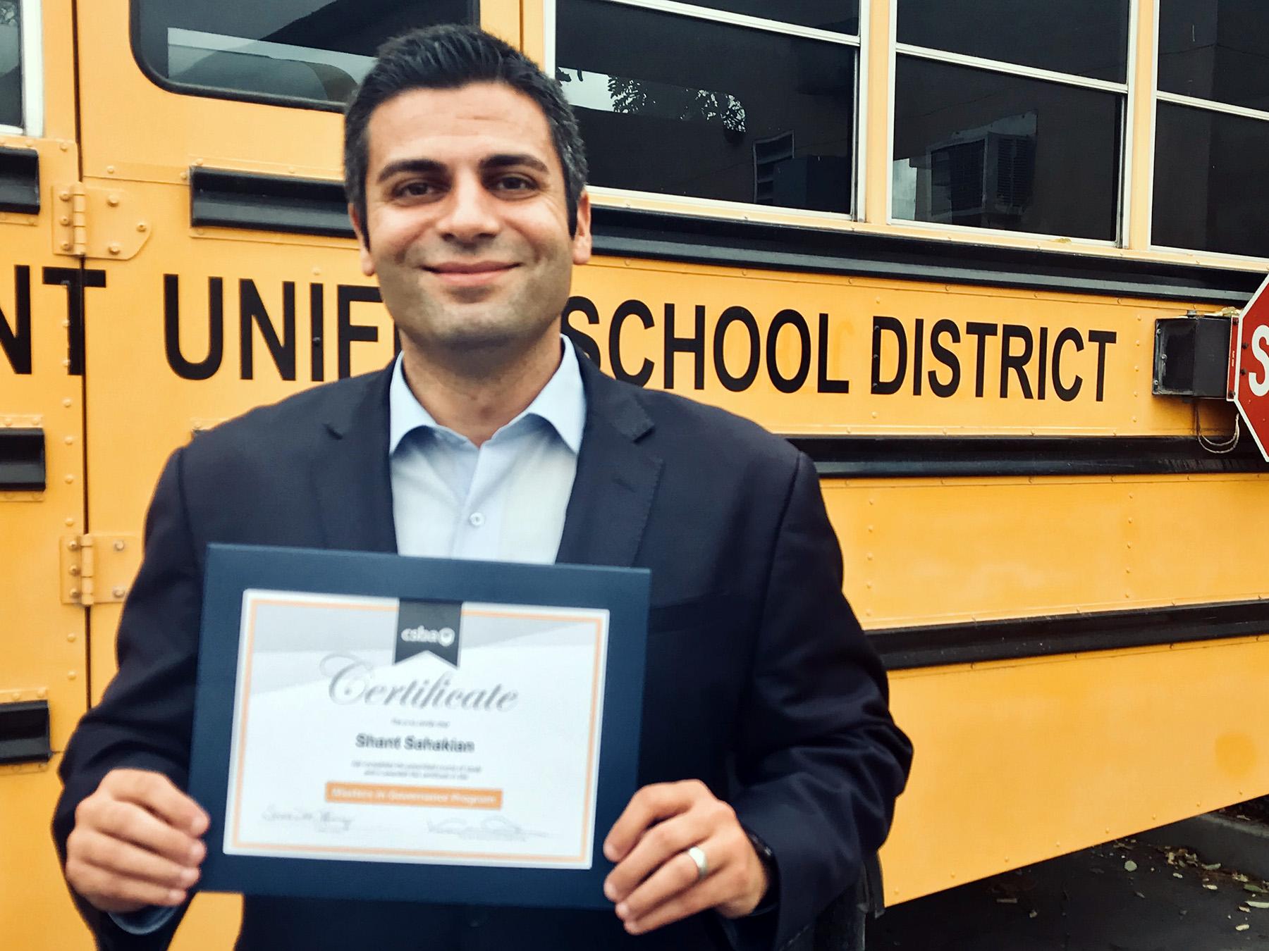 Shant Sahakian California School Boards Association (CSBA) Masters in Governance Graduation
