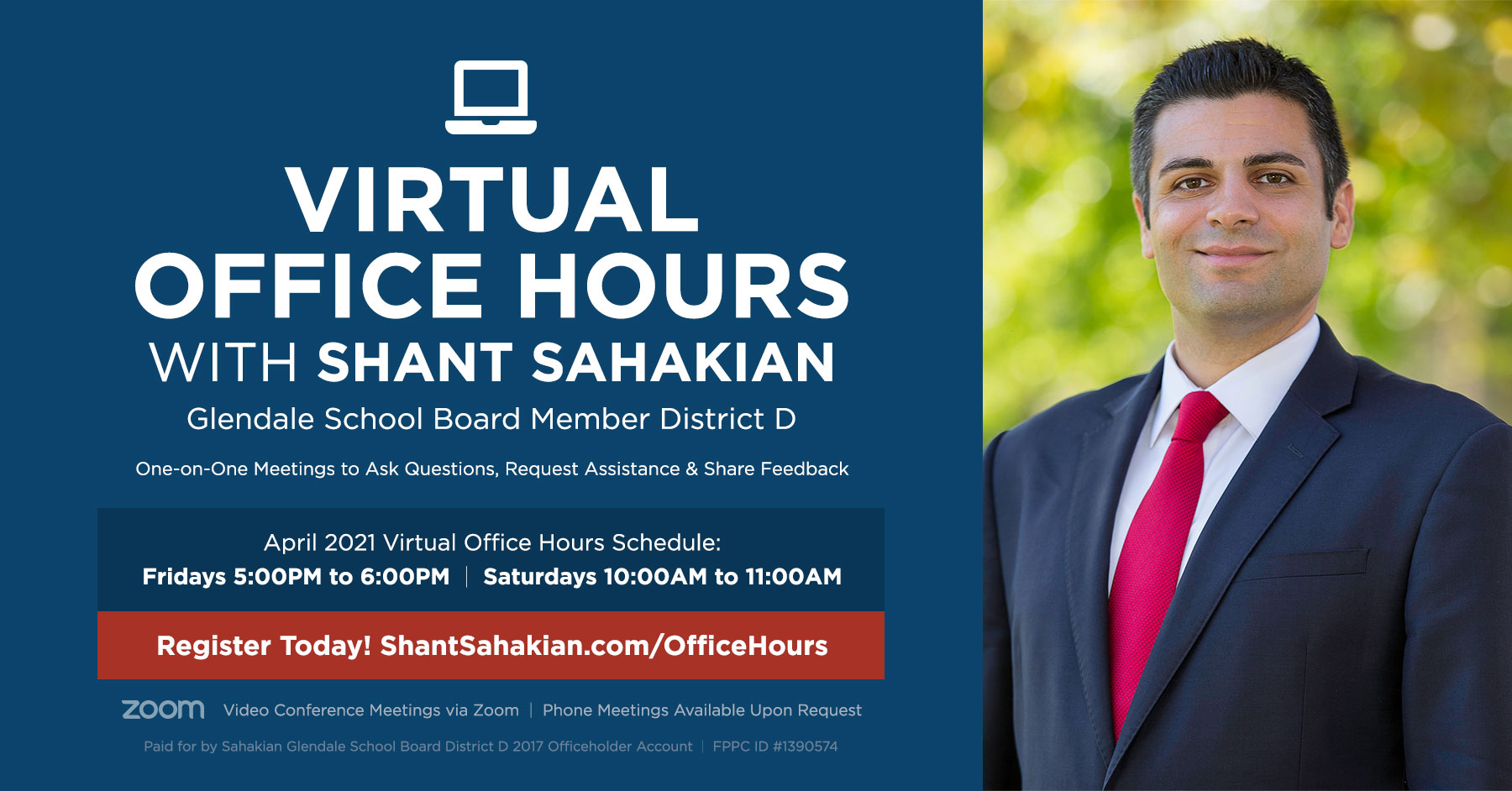 Virtual Office Hours with Glendale School Board Member Shant Sahakian April 2021