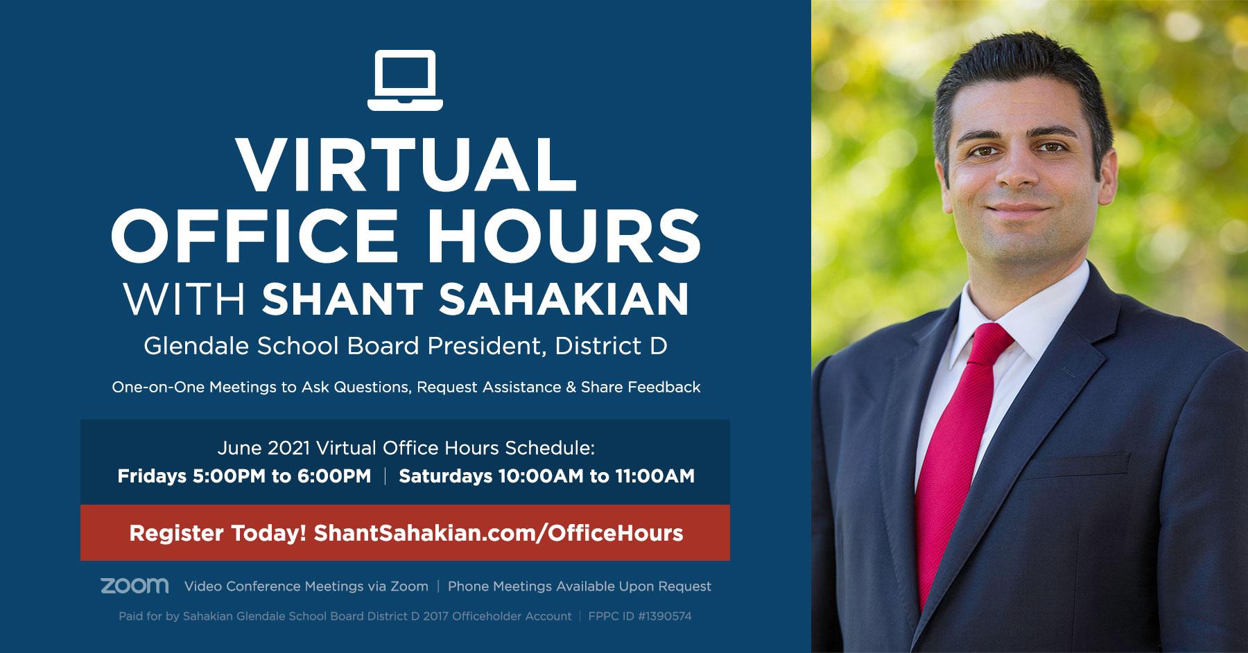 Virtual Office Hours with Glendale School Board President Shant Sahakian June 2021