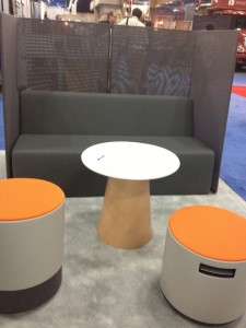 Steelcase round tables, couch and ball chairs