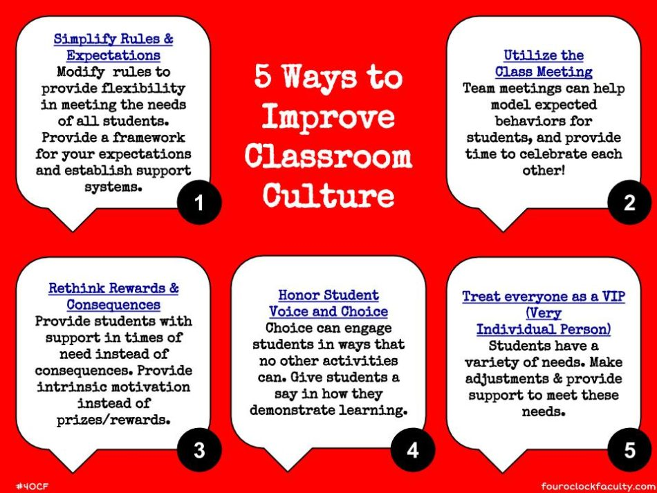 5 Ways to Improve Classroom Culture