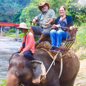 Linda on an Elephant