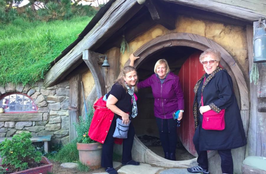Leigh, Cynthia, and Barbara at Hobbiton