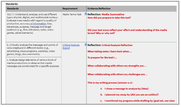 Standards, Evidence, Reflection