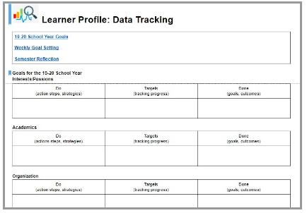 Learner Profile: Data Tracking