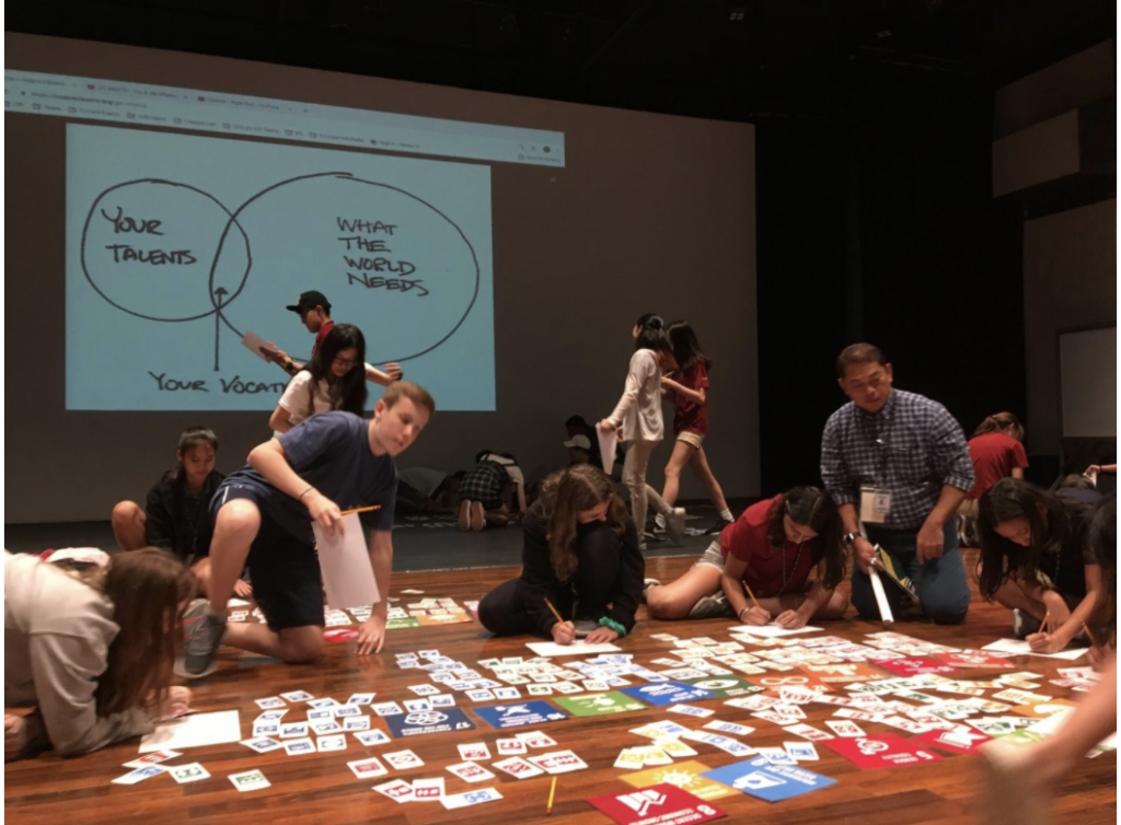 Students at the Global Issues Network Conference in Manila, Philippines work on their ownpersonal projects or vocations using Talent + Target = Vocation