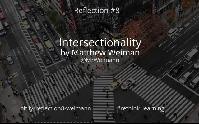 Reflection #8 is with Matthew Weimann on Intersectionality which discusses the concept of privilege