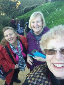 Cynthia, Barbara, and Leigh Hynes at Hobbiton