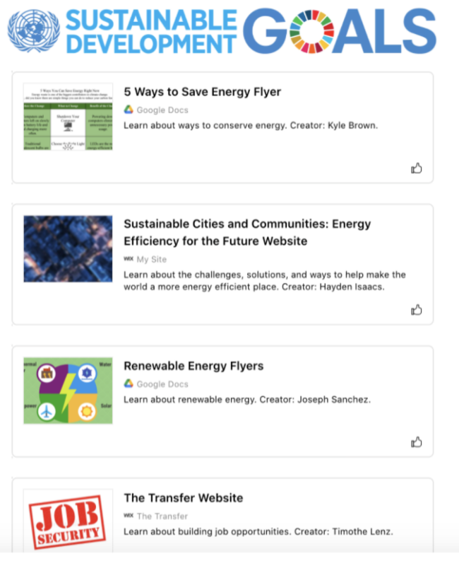Wakelet collection of SDGs websites by Stephanie Rothstein's students