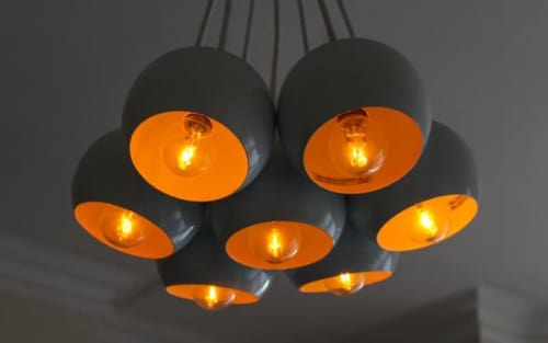 Modern chandelier with black globes