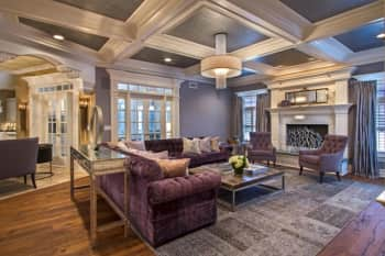 Large living room with ambient lighting