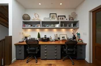recessed lights over a desk for task lighting