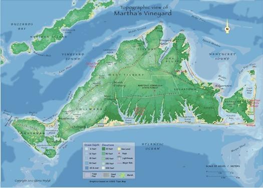 Martha's Vineyard Map by Gloria Mylyk