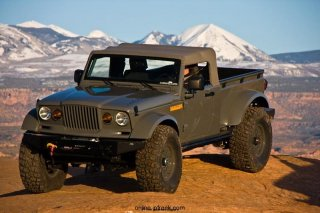 Mopar revealed the Jeep Nukizer 715 image vehicle at the 44th annual Easter Jeep Safari in Moab, Utah.  The Jeep Nukizer 715 is an all-purpose truck that pays homage to the beloved military-only Kaiser M-715 truck.  With a military-issue Jeep J8 four-door, the Mopar team converted the vehicle into a pickup body style by adding an aftermarket AEV Brute pickup box built for a TJ.  To increase the size of the vehicle, the wheelbase is stretched to 124 inches from 116 inches.  Enforcing the brand's iconic M-715 is a new front clip produced in carbon fiber that re-creates the characteristic forward slant of the M-715 truck.  To top it off, Bestop provided a unique soft top which artfully captures all of the quirks of the original.