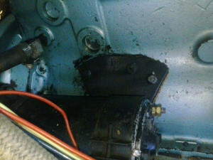 The homemade block repair that made it questionable if the engine would run.