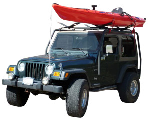 Jeep roofrack carrying a kayak.