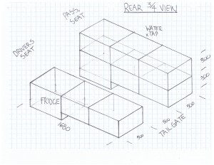 The design for the cabinets in the rear of my JK created by my Dad and I