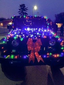 A Jeep ready for the Christmas parade
