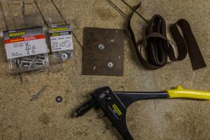 Tools required - rivet gun, rivets, washers, elastic, backboard