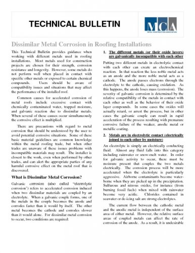 Dissimilar Metals Technical Bulletin