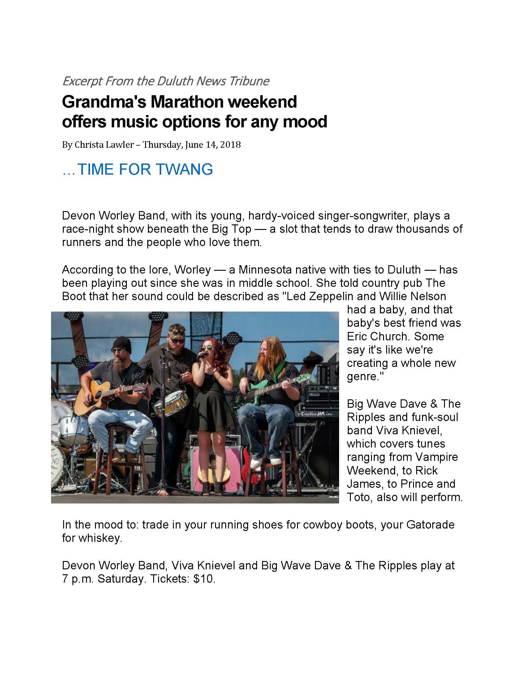 Duluth News Tribune article about Grandma's Marathon Entertainment