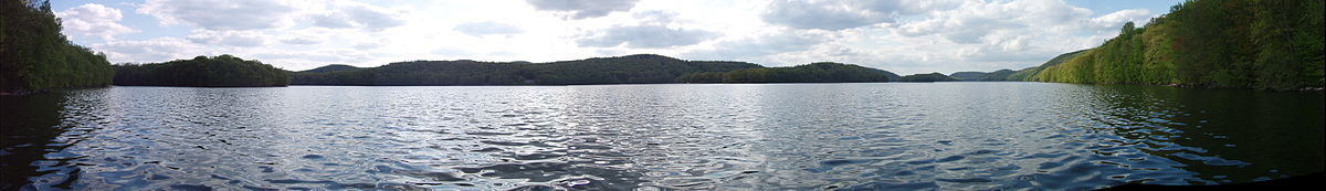 View of hills accross Candlewood Lake.