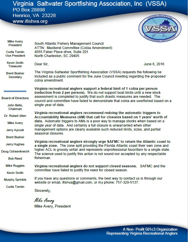 VSSA Cobia Letter to SAFMC 6 Jun 16