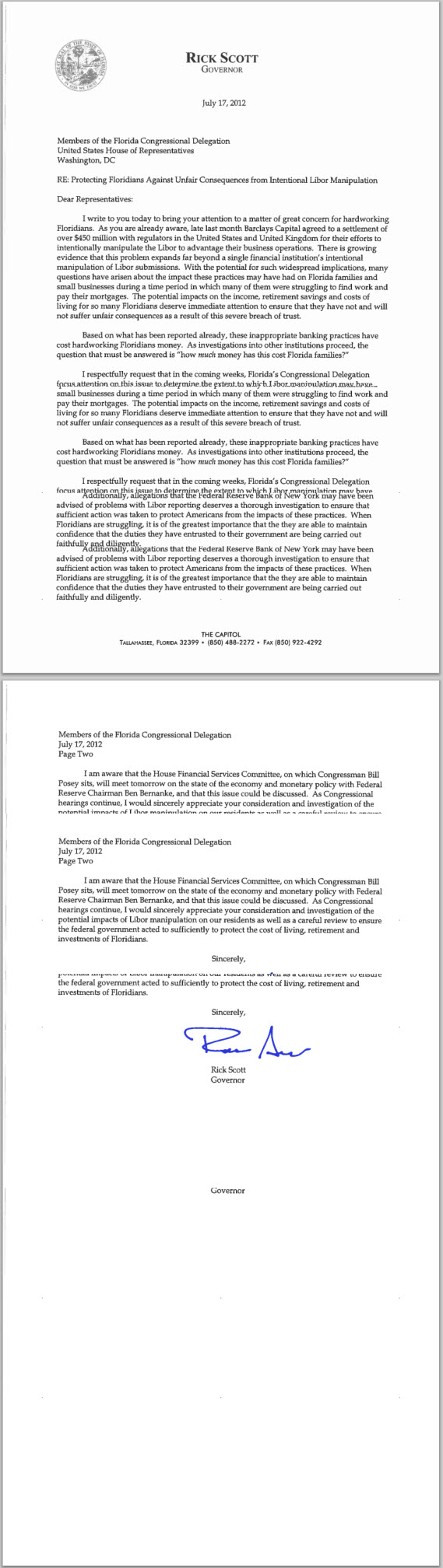 Open Letter of Governor Rick Scott to Florida Congress on Libor Rate Manipulation