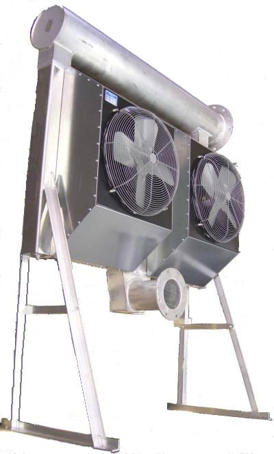 Two-core air cooled landfill gas aftercooler