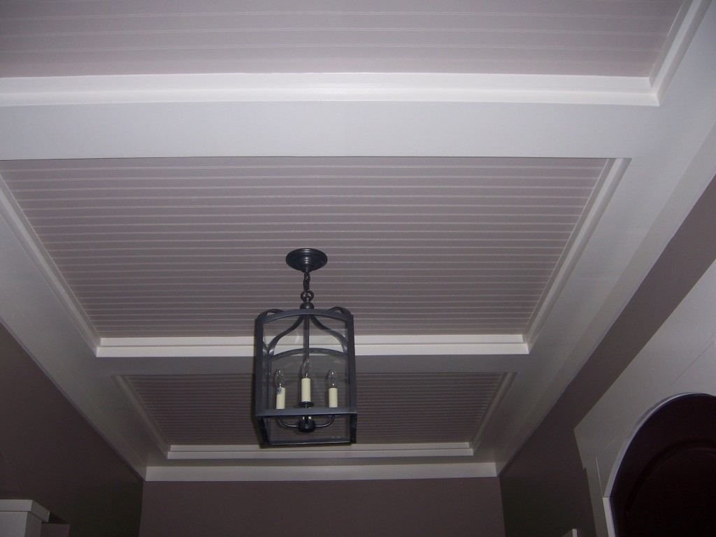 Beadboard Ceiling with Tray