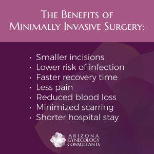 Benefits of Minimally Invasive Surgery Bulleted List - Arizona Gynecology Consultants