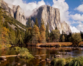 El Capitan, Clouds, Fall, Yosemite Valley, Yosemite National Park, Sierra Nevada, California, copyright 1973 by Philip Hyde. A giant 32x40 archival print of El Capitan, Clouds greets visitors to This Land Is Our Land show.