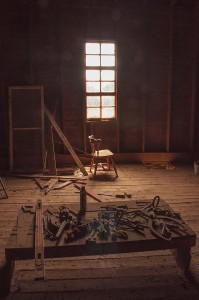 Tools, Chair, Window, Starke Round Barn Near Red Cloud, Nebraska, Midwest #Heartland United States by David Leland Hyde, 2015.