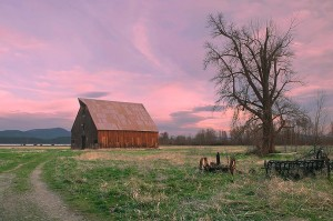 Cloudy Sunset, Olsen Barn, Lake Almanor Near North Fork Feather River, Chester, Northern Sierra, California by David Leland Hyde.