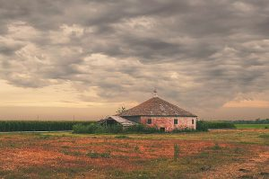Keith Round Barn Under Tornado Sky, North Platte, Nebraska, 2015 by David Leland Hyde.